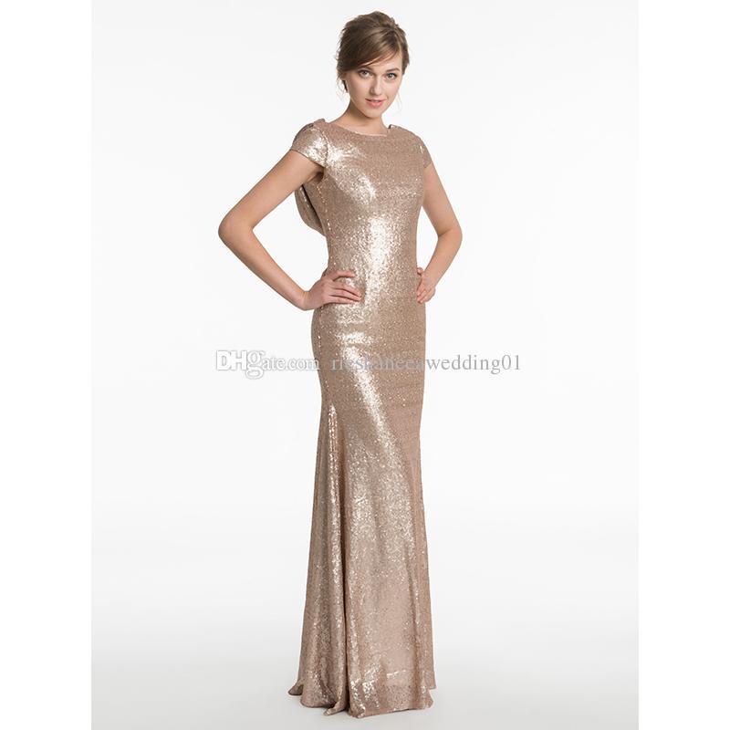 Cheap Gold Sequined Evening Dresses Under 100 Long 2017 Sheath Floor ...