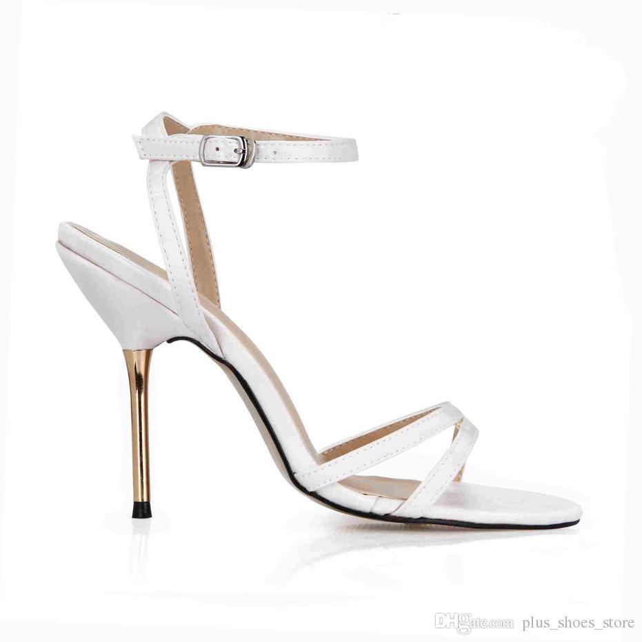 Zapatos de novia de la boda 2017 Nuevo Llega hebilla de la correa de Metal Tacones Real Image Zapatos de mujer Sandalias de verano Zapatillas Mujer Zapatos baratos En stock