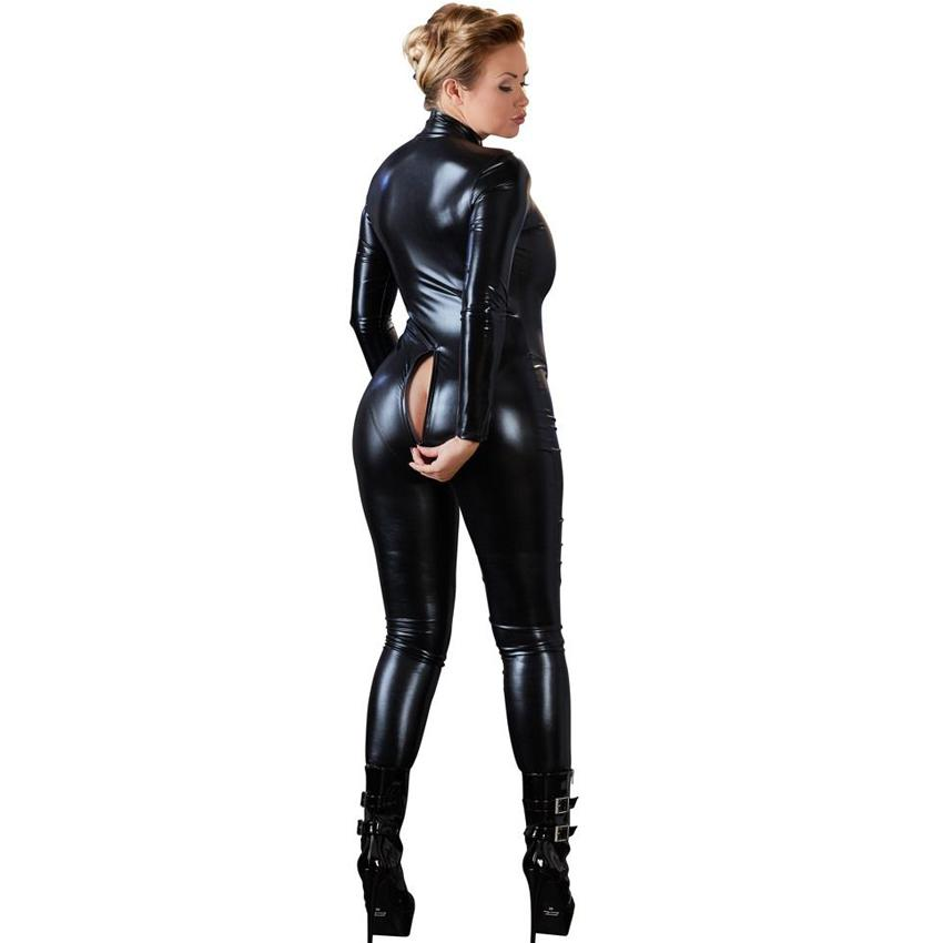 Donne Sexy Black Open Cavallo Zentai Catsuit Tuta Faux Leather Leggings Pantaloni Club Zipper manica lunga