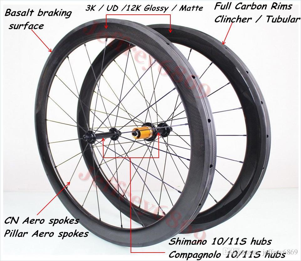 Ultralight Carbon Road Bike Wheels Front 2 Bearing+Rear 5 Bearing Hub Bike Wheels 700C 50mm Road Wheels Carbon Racing Wheelset