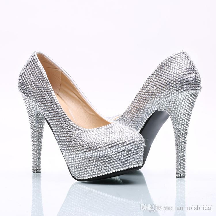 Grosshandel 5 8 11 14 Cm Heels Silber Perlen Cinderella Schuhe Perlen