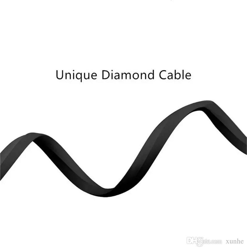 Micro USB Cable 1M 3.3ft Diamond Shaped Rhombus TPE Cable Tangle Free Zinc Alloy Plug USB Sync Data Cable for Android Samsung