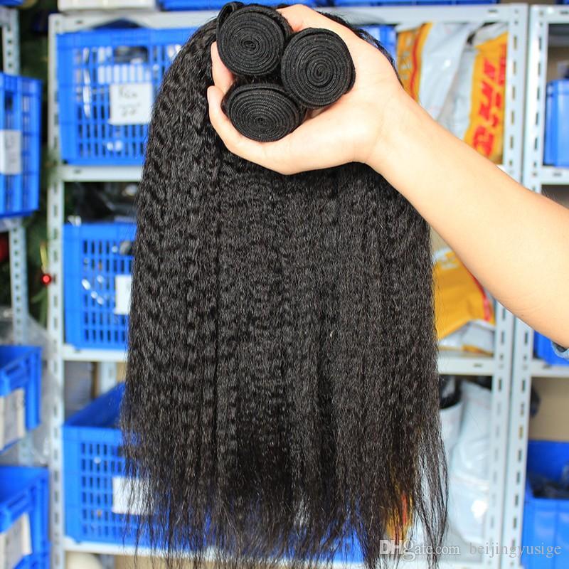 Fasci di capelli umani vergini brasiliani diritta crespi capelli naturali 3 pz lotto italiano Yaki capelli umani tesse capelli mongolo indiano peruviano