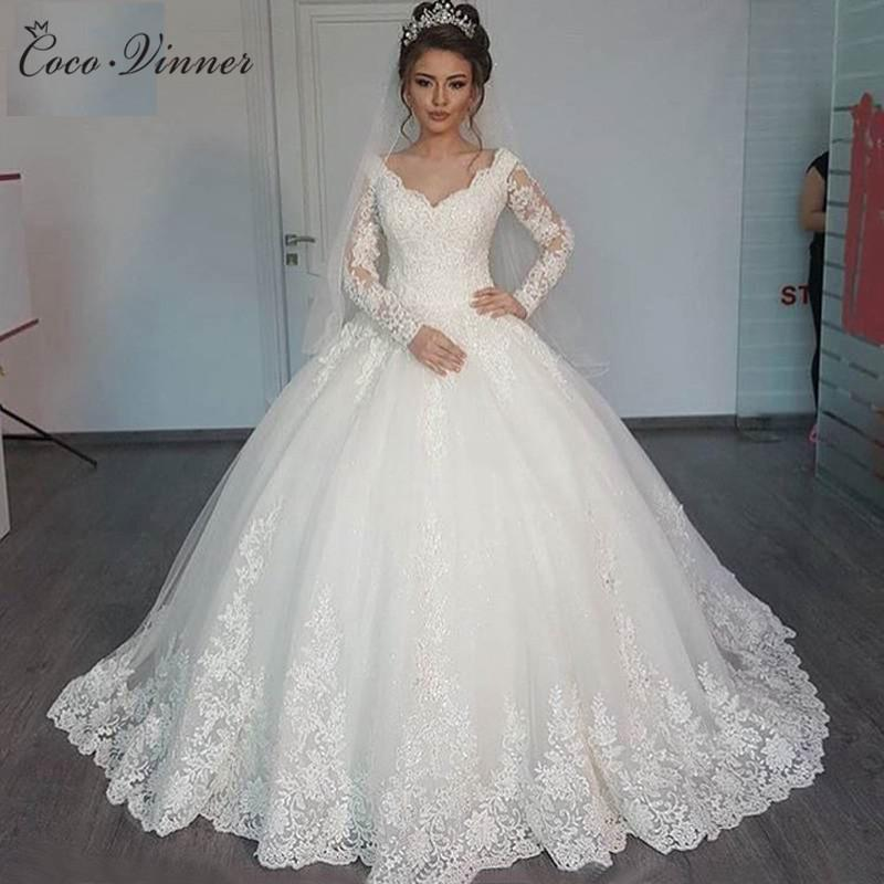 C.V Custom Made Wedding Dress 2018 Puffy Ball Gown Lace Beaded ...