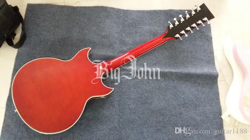 Frete grátis novo Big John 12 cordas oco guitarra elétrica duplo f guitarra de buraco para a música jazz F-3340