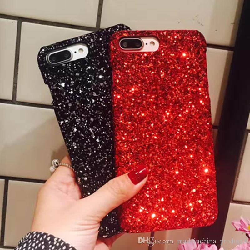 new arrival 537f6 aa781 Bling Glitter Phone Case for iphone X Fashion Shockproof Hard PC Back Cover  for iphone 8 plus 6s 6 7 plus Christmas Gift