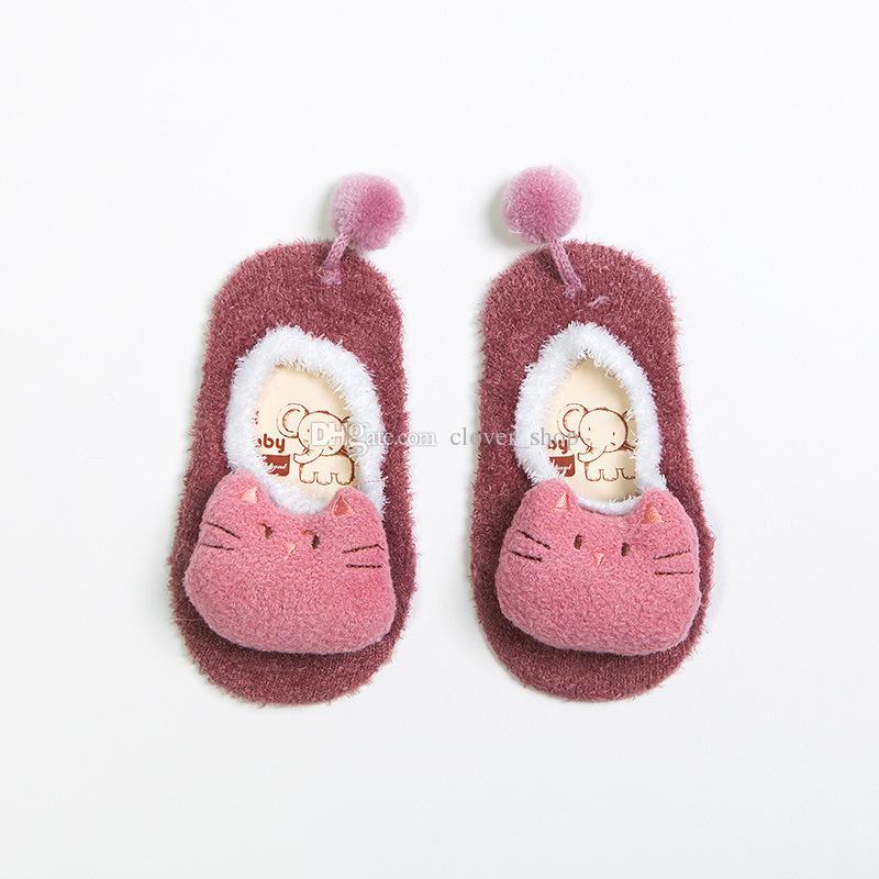 Новая осень зима Унисекс Детские носки Короткие Коралл кашемир лодка носки младенца 0-5Y мальчик / девочка мультфильм животных носки форма полов