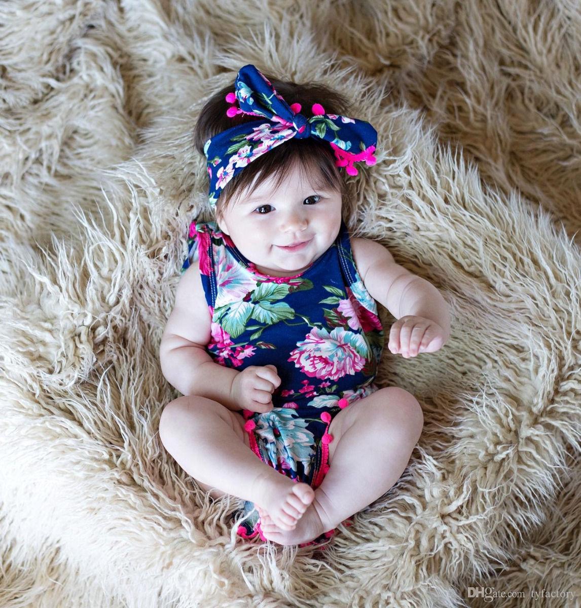 Bonito Do Bebê Romper Floral + Headband Crianças One Pieces Little Baby Roupas Babys Roupas 2017 Venda Quente 3 Cores de Alta Qualidade 0-24 M