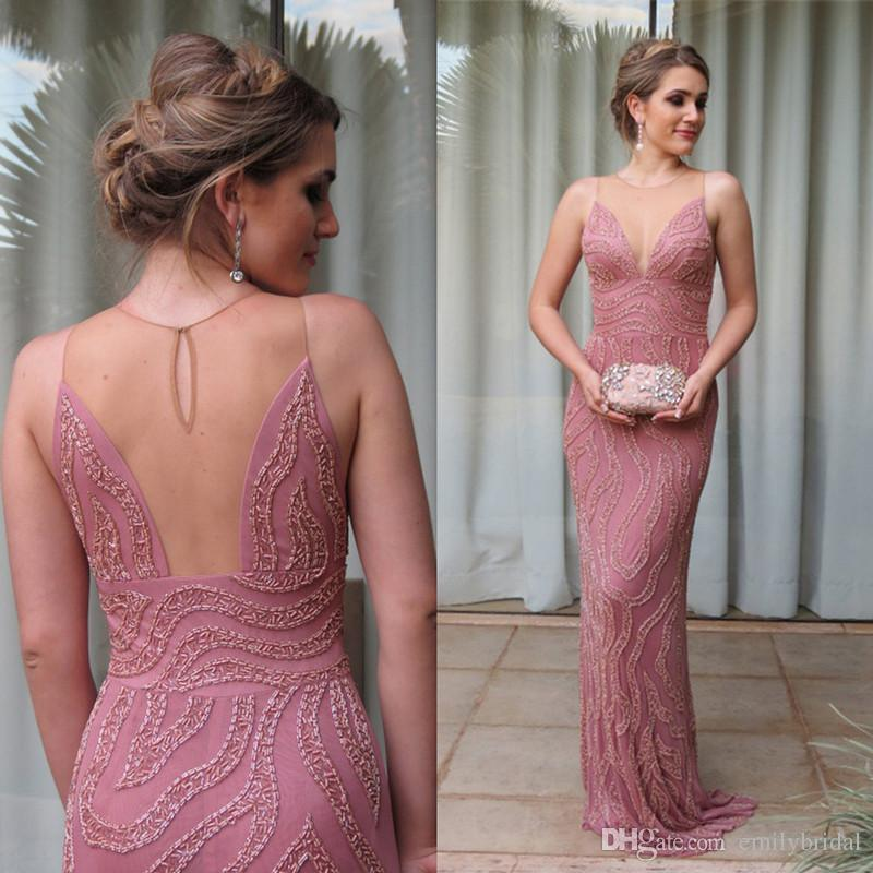 Classy Chiffon Evening Dress Hand Work Beaded Pink Mermaid Formal ...