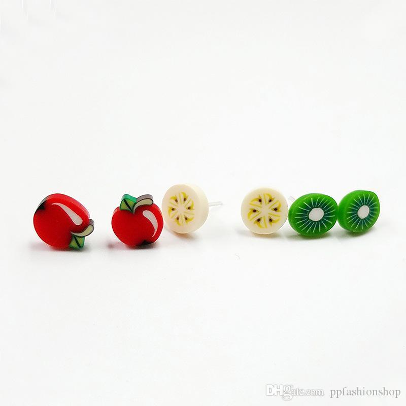 مزيج الفاكهة الناعمة الحيوان زهرة أقراط مجموعة مزيج 100 أزواج من الأقراط الجملة نماذج هيبوالرجينيك الساخنة لطيف الحيوان الأذن
