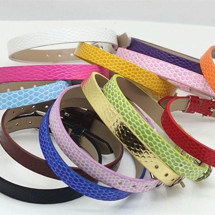 European 8mm/10mm PU Leather Wrap Bracelets DIY Charms Leather Bracelet Bangle Jewelry Accessories Fit Slide Letter