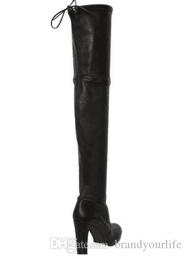 2017 women over knee high gladiator boots box heel Stretch Fabric booties thigh high long boots point toe skinny black bota
