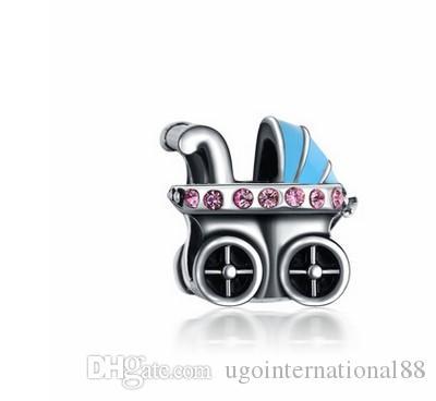 2020 Wholesale Baby Carriage Pram Silver Enamel Charm