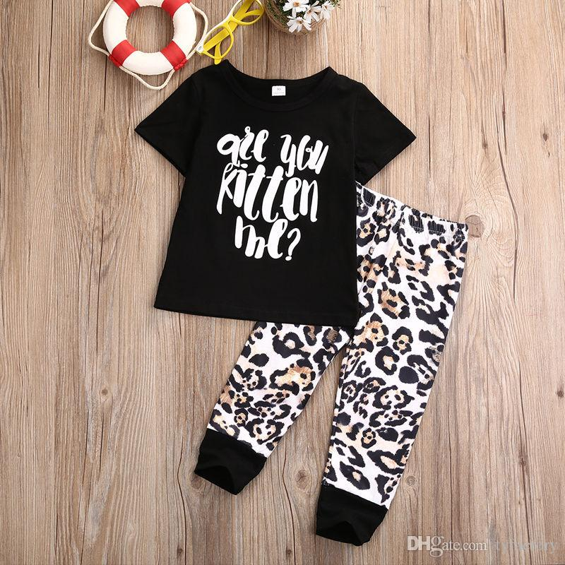 2017 Toddler Kids Baby Boy Girls Fashion Outfit Clothes T-shirt Tops+Leopard Long Pants Trousers Set 1-5T