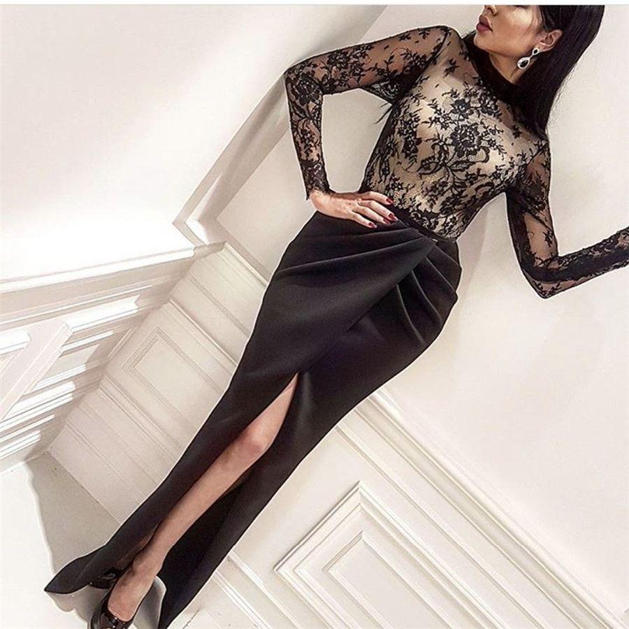 Sexy negro alto cuello de noche vestido de encaje plisado vaina lateral raja larga manga vestidos de baile larga fiesta Dresse
