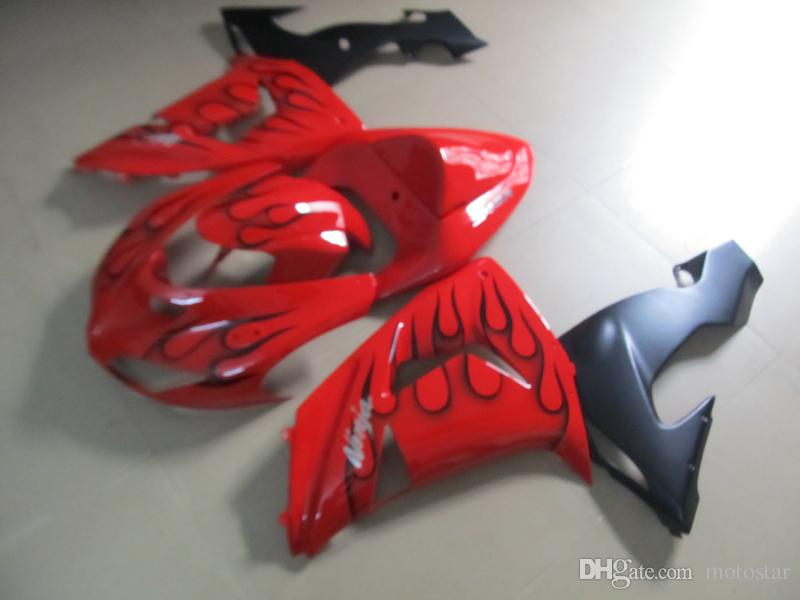Hot sale injection molding Motorcycle fairings for Kawasaki ZX-10R 2006 2007 red black flames fairing kit 06 07 ninja ZX10R RT67