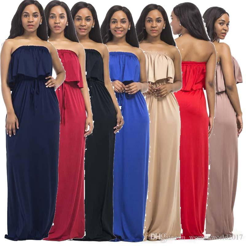 Plus Size Womens Fashion Casual Strapless Loose Long Maxi Dresses