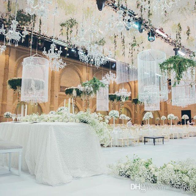 20 Adet / grup Asılı Kristaller Düğün Centerpiece DIY Metal Asılı Kristaller Düğün Olay Dekorasyon Için Çiçek Standı Aksesuarları