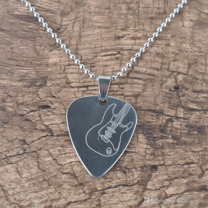 2018 guitar pick pendant necklace chain metal for electric guitar 2018 guitar pick pendant necklace chain metal for electric guitar bass silver from musicplus 403 dhgate aloadofball Image collections