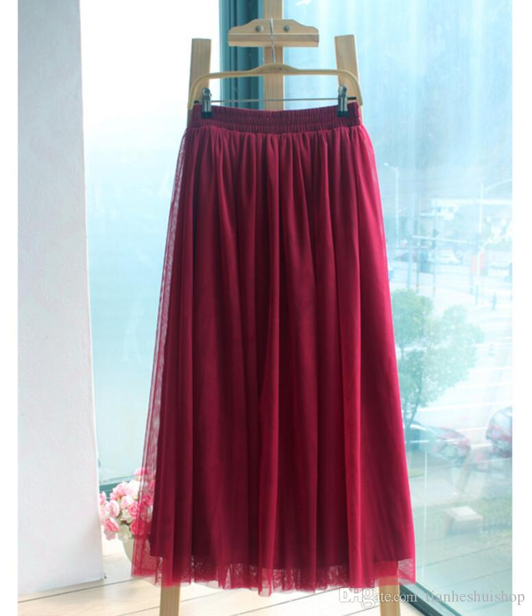 Cheap Ball Gown Skirts For Women Tulle Long Skirt Adult Women Tutu Skirts Lady Formal Party Skirts