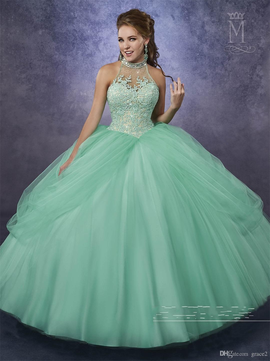 Green neon and pink quinceanera dresses