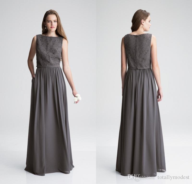그레이 국가 들러리 드레스 긴 민소매 레이스 탑 시폰 스커트 여름 정장 웨딩 파티 드레스 사용자 정의 만든 하녀 명예