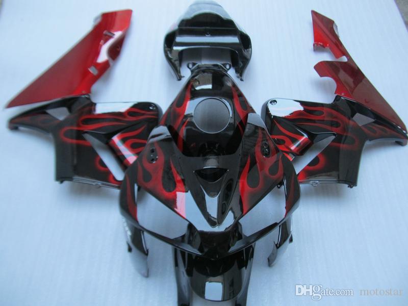 Kit carénage de moulage par injection pour Honda CBR600RR 05 06 Kit carénages noir flammes rouges CBR600RR 2005 2006 OT03