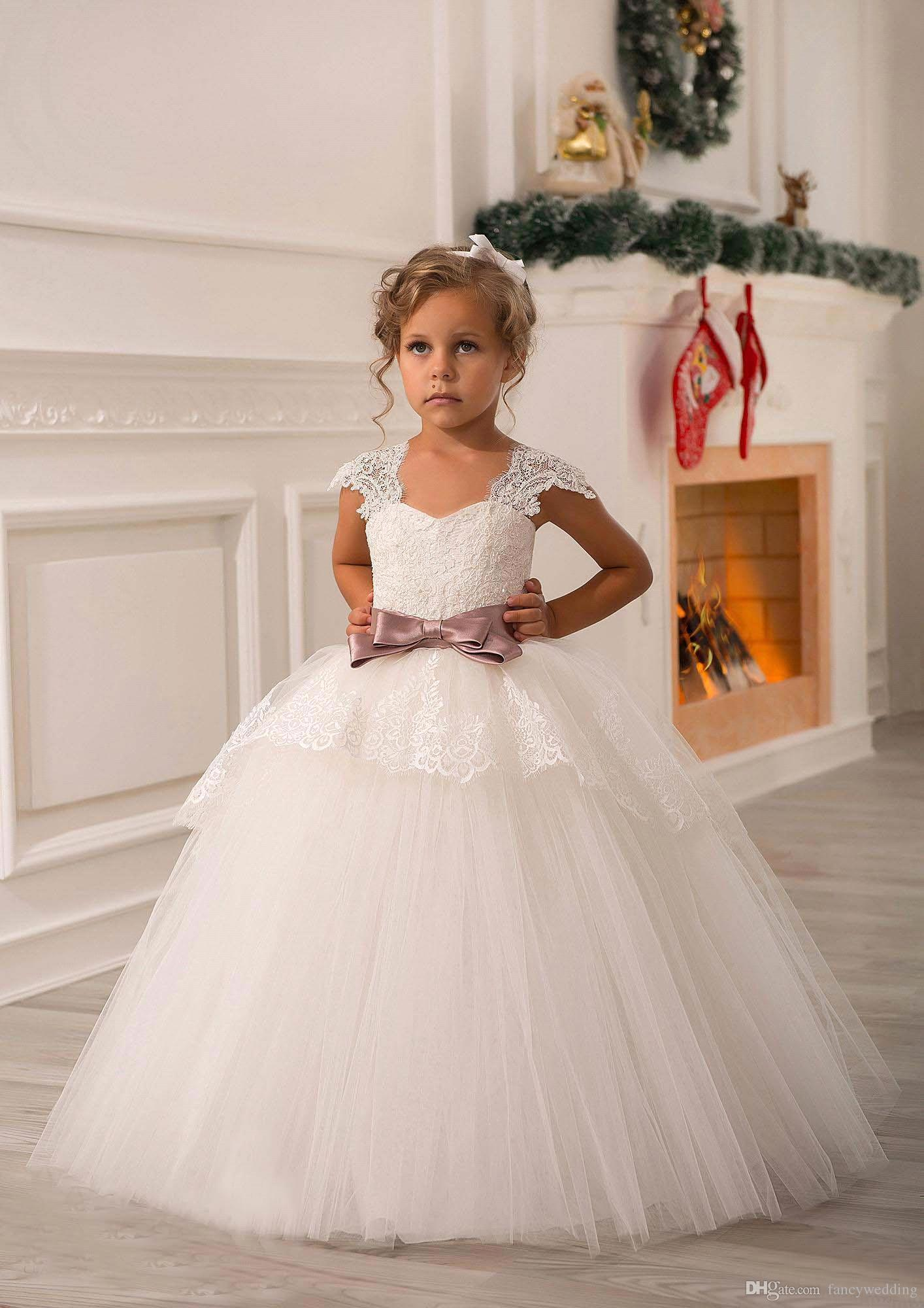 Ivory lace beaded 2016 ball gown flower girl dresses for Little flower girl wedding dresses