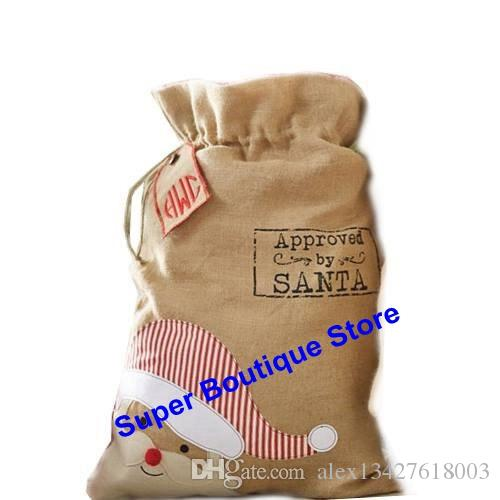 New arrival 2017 styles burlap santa sack mixed Best quality Christmas gift candy bag indoor decoration kids gift bag fast delivery