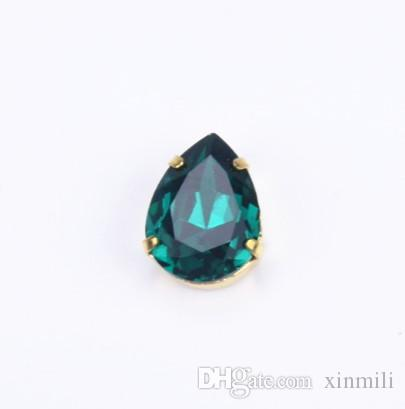 13x18mm waterdrop highest quality K9 sew on stones crystal beads with gold claw no any scratch dirty