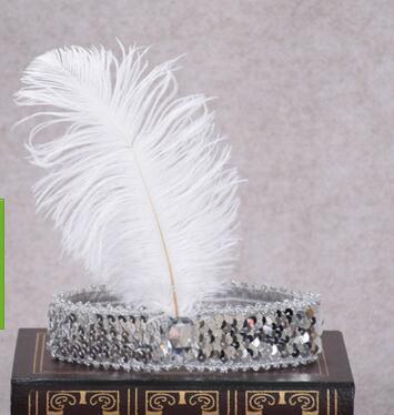 Ostrich Hair Show diadema juego de lentejuelas Diamante color juego tocado indio adulto pluma desgaste de la cabeza niño tocado