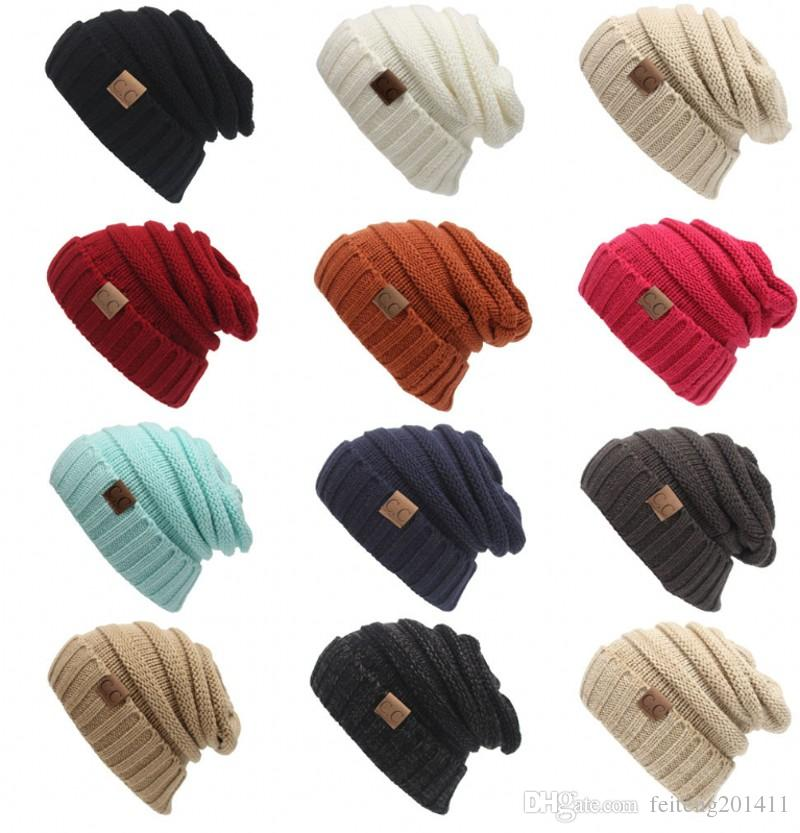 0e043991037 2019 2017 New Men Women Hat CC Trendy Warm Oversized Chunky Soft Oversized Cable  Knit Slouchy Beanie From Feiteng201411