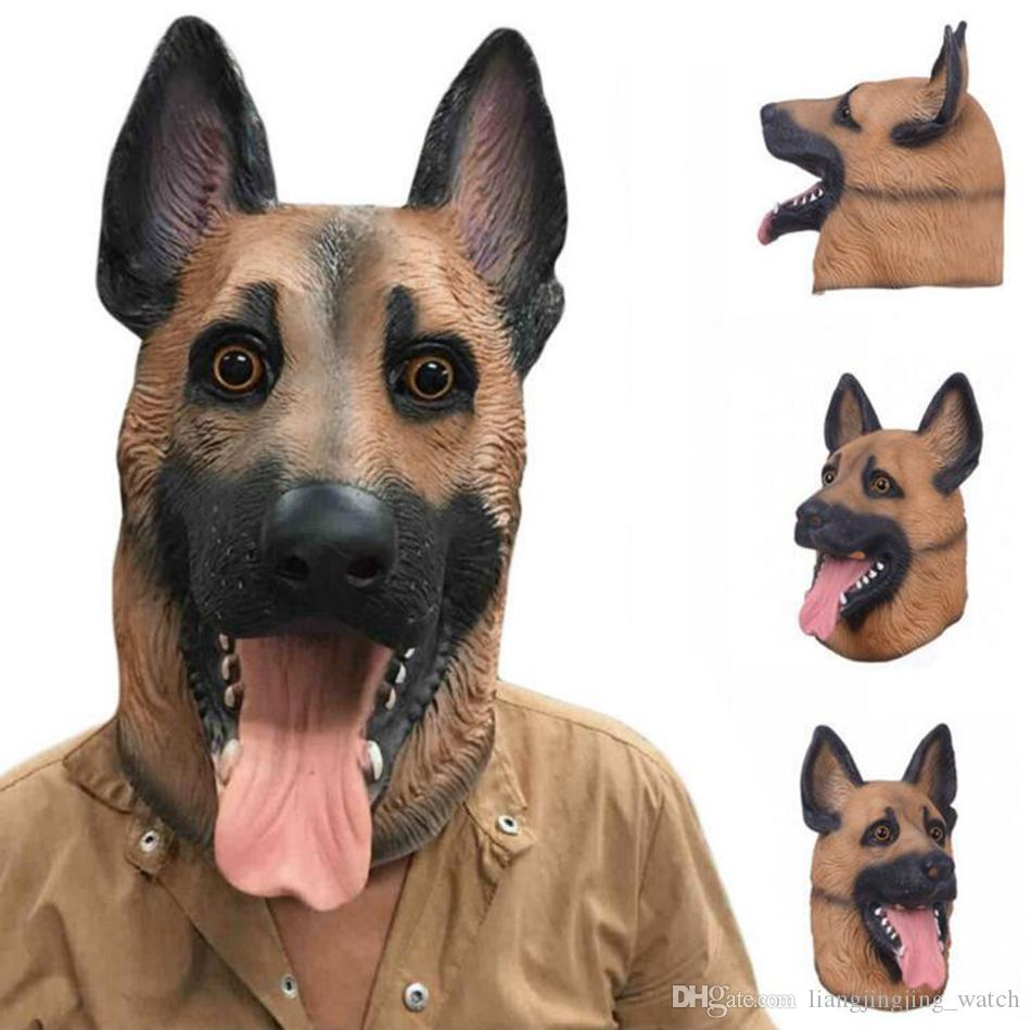 Dog Head Latex Mask Breathable Novelty Full Face Head Mask Halloween Masquerade Mask Fancy Dress Festival Party Masks OOA3145