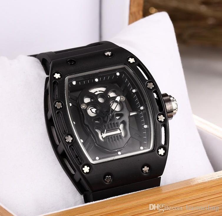 2017watch  Fashion Skeleton Watches men Skull sport quartz watch 2
