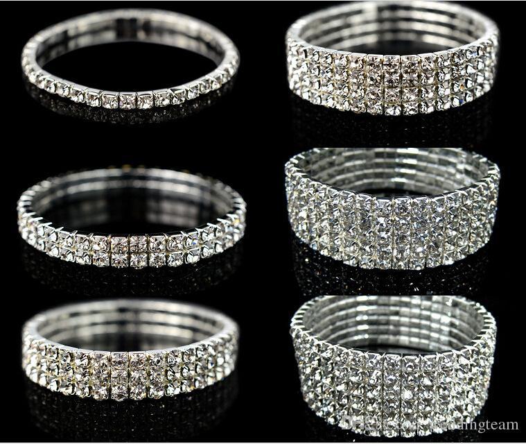 Sparkly Rhinestones Stretch Bangle Wedding Bracelets Bridal Jewelry
