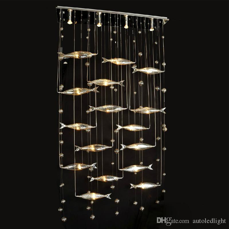 Vidrio moderno Mosca Pescado Luz de Techo Enjambre Peces Araña de Luz de la Sala de estar Cristal Cognac Color Peces Lámparas de Techo LLFA21