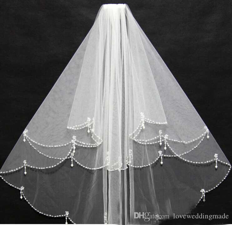 Alta qualidade Handmade Beading Branco Duas Camadas Véus De Noiva Blusher Véus Véus De Noiva Curto veu de noiva gv10