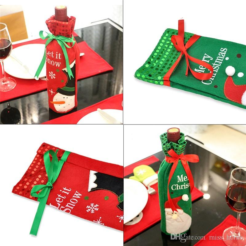 Christmas Wine Bottle Decor Set Santa Claus Snowman Deer Bottle Cover Clothes Kitchen Decoration for New Year Xmas Dinner Party Santa Claus