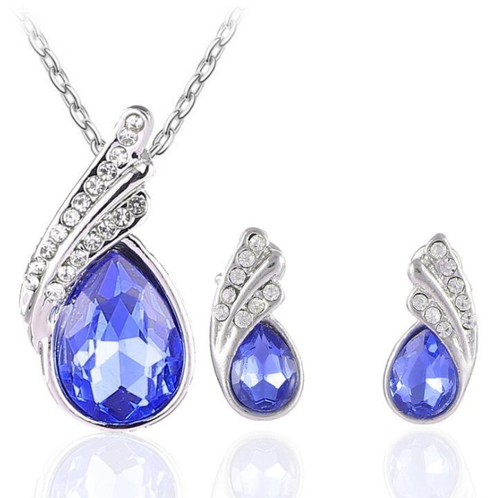 Crystal Diamond Angel Tears Drop Necklace Earrings Sets Silver Chain Rhinestone Leaf Necklace Stud Earring for Women Fashion Wedding Jewelry