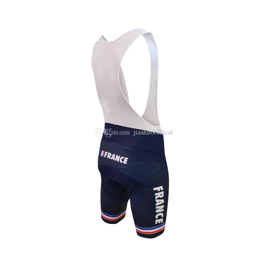 Новые индивидуальные горячие 2017 JIASHUO Франция Французский mtb road RACING Team Bike Pro Велоспорт Джерси наборы нагрудник шорты одежда дыхание воздух