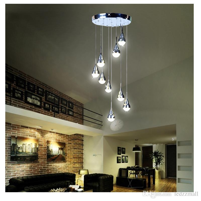 27w 9 Led Lights Modern Chandelier Stair Ceiling Light Pendant Lamp Light  Home Restaurant Stairs Decoration Led Ceiling Lamp Ing Pendant Lamp Parts  Wood ...