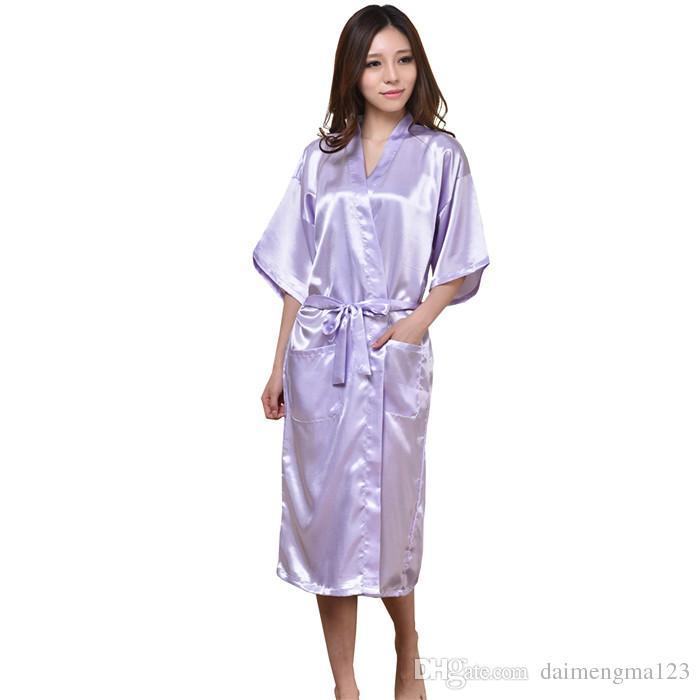 9 ألوان أزياء المرأة الصلبة الحرير كيمونو رداء ل صيفات الشرف الزفاف حزب ثوب الليل منامة M011