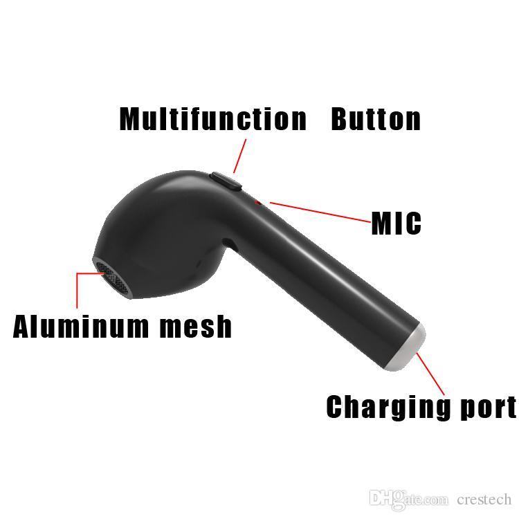 hbq i7 kopfhörer mini bluetooth drahtlose kopfhörer kopfhörer ohrhörer unsichtbar mit mikrofon stereo kopfhörer für ip5 / 6/7 samsung
