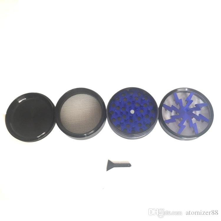 Курение сухой травы grinder 63 мм алюминиевый сплав 4 grinder с прозрачным верхним окном освещения grinder для зажигалки испаритель vape pen