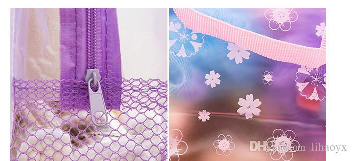 Toptan ChinamaKakeUp Çanta Kozmetik Çanta Şeffaf Su Geçirmez PVC Çanta Çiçek Baskı Için Tuvalet Banyo Kılıfı Seyahat Ücretsiz Kargo E004
