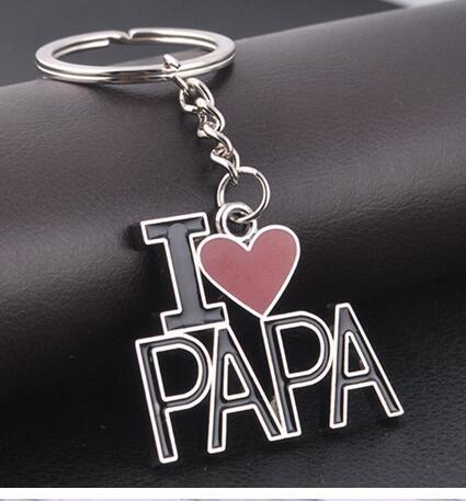 10 adet / grup ücretsiz kargo I LOVE PAPA Baba Erkekler Anahtarlık Baba babalar Günü Hediyeleri Gümüş Kalp Mektubu Anahtarlık
