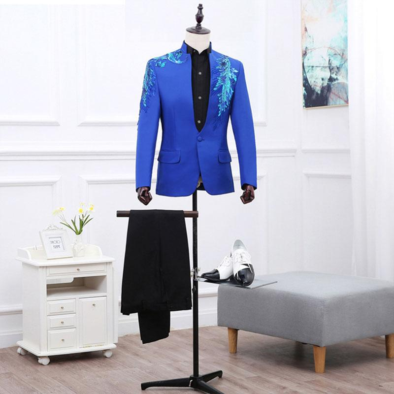 2016 Brand New Red / Blue / Purple Long Sleeves Stand Collar Traje / Blazer Lujoso Lentejuelas Etapa Traje Trajes de rendimiento