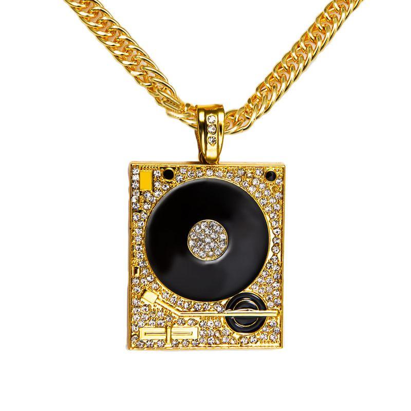 Excellent Wholesale Original 18k Gold Dj Phonograph Big Pendant Necklace Men  CS56