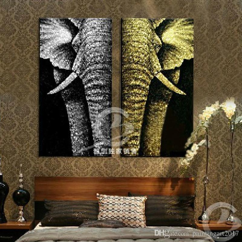 Modern Abstract Fashion Oil Painting On Canvas For Home Decoration Gold Elephant Wall Art Home Decoration Canada 2019 From Paintingart2017 Cad 86 94