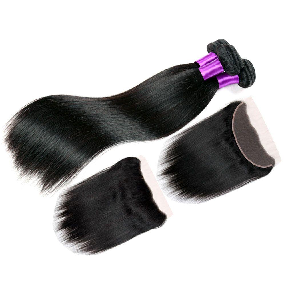 Malaysian Silk Straight Virgin Human Hair With Frontal Closure Cheap 3 Bundles With 360 Lace Band Frontal Closure